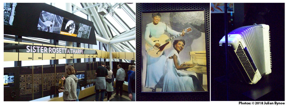 Left right the inductee wall on level 3 of the rock and roll hall of fame a colour tinted publicity photo of sister rosetta tharpe on guitar and marie